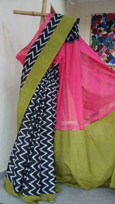 saree Phulkari Saree, Ikkat Saree, Banarasi Sarees, Simple Sarees, Trendy Sarees, Saree Blouse Patterns, Saree Blouse Designs, Ethnic Sarees, Indian Sarees