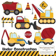 Premium Primary Construction Clipart Truck Clipart by AmandaIlkov