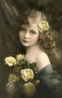 Vintage Beauty Little Girl Holding Yellow Roses 8 x 10 Reprint Ready to Frame