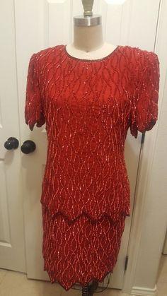vintage sequined dress by lawrence Kazar silk L Old School Fashion, Sequin Dress, High Neck Dress, Short Sleeve Dresses, Silk, Vintage, Ebay, Turtleneck Dress