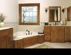 Mission Style - We especially love the furniture details on the vanity. Wooden Bed With Storage, Bed Storage, Custom Bathroom Cabinets, Bungalow Bathroom, Craftsman Bungalows, Corner Bathtub, Bathrooms, Vanity, Bathroom Ideas