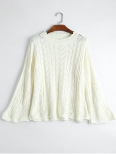 Crew Neck Cable Knit Sweater - OFF-WHITE ONE SIZE