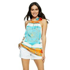 Womens Halter Tops - Scarf Printed Halter Top | C. Wonder