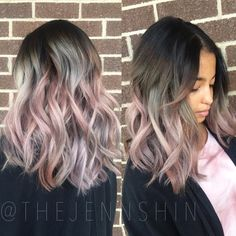 """Jenn Shin on Instagram: """" Metallic Blush inspired by @guy_tang 's silver rose color  on the adorable @upsidedownbox  Used all @schwarzkopfusa colors for this look! I also added @brazilianbondbuilder into her lightener and color for that extra reassurance for strong healthy hair. That shit is no joke folks, it works wonders!"""