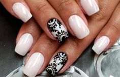 Opting for bright colours or intricate nail art isn't a must anymore. This year, nude nail designs are becoming a trend. Here are some nude nail designs. Fabulous Nails, Gorgeous Nails, Pretty Nails, Hair And Nails, My Nails, Lace Nail Design, Nails Design, Black And White Nail Designs, Black White