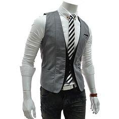 (VE37-GRAY) Slim Layered 2 Tone 1 Button Vest Waistcoat