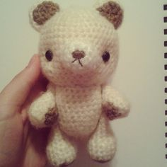 Bear I made. His arms and legs are bendable/movable so he is able to sit down as well u #あみぐるみ #amigurumi #cute #kawaii #bear #animal #animals #crochet #plush #craft #crafting #needle #needlework #doll by stitchdragon