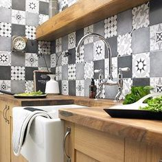 Black wall tiles kitchen wall tiles for kitchen view in gallery tiles house of kitchen wall . Backsplash Tile Design, New Kitchen, Kitchen Tiles Design, Patchwork Kitchen, Patchwork Tiles, Kitchen Design, Latest Kitchen Designs, Kitchen Tiles, Kitchen Wall