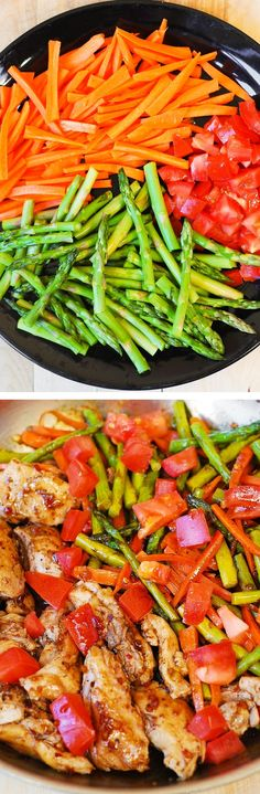 Balsamic Chicken with Asparagus and Tomatoes delicious healthy low fat low cholesterol low calorie meal packed with fiber (vegetables) and protein (chicken). Low Calorie Recipes, Diet Recipes, Cooking Recipes, Low Cholesterol Recipes Dinner, Low Calorie Dinners, Easy Recipes, Chicken Asparagus, Chicken And Vegetables, Veggies
