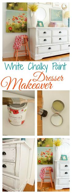 How to turn a dated old dresser into a beautiful statement piece with white chalky based paint at The Happy Housie