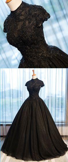 Pretty black tulle cap sleeve high neck long open back formal prom dress, beaded evening dress #prom #dress #promdress #promdresses