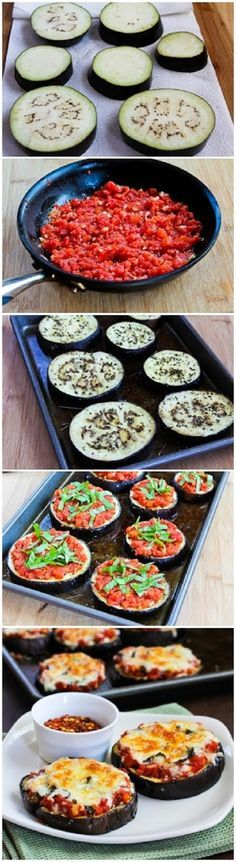 Eggplant Pizza - NOT VEGAN! But I will make it to be vegan and some of the other ingredients is not my thing, but the aubergine is! And to use it as base for a pizza, is such a brilliant idea, that it has to be tried out!