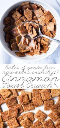 Gluten Free, Paleo & Keto Cinnamon Toast Crunch Extra crunchy & just 2g net carbs! #keto #ketobreakfast #lowcarb #paleo #glutenfree