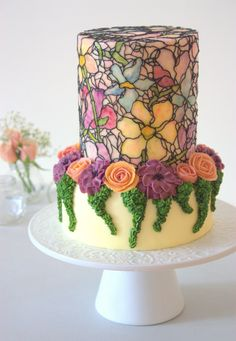 Beautiful floral cake with mosaic or stained glass like detail, wow!