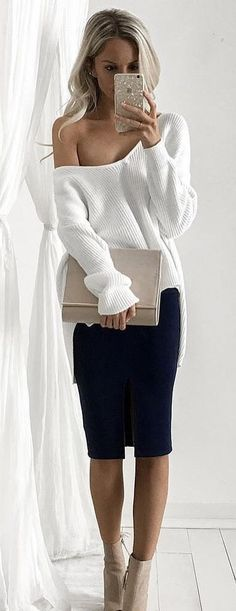 #fall #outfits  women's white sweater and black pants