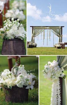 rustic elegance - flowers in wooden buckets, bouquet tie-backs on sheering, leis hanging down