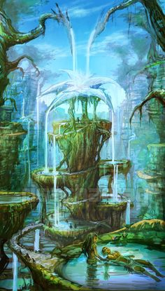 swayinghummingbirds: Original: Healing Springs by Risachantag Fantasy Artwork, Fantasy Concept Art, Fantasy Places, Fantasy World, Fantasy Landscape, Landscape Art, Fantasy Forest, O Pokemon, Mysterious Places