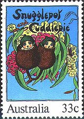Snugglepot & Cuddlepie featured on an Australian 1985 postage stamp. Australian Authors, Australian Art, Stamp Collecting, Postage Stamps, Retro, Bunt, Cuddling, Childhood Memories, Childrens Books