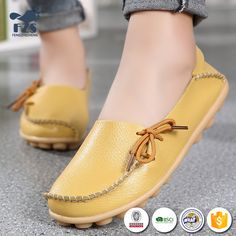 ffb2d60a9 Buy New 2018 Vintage Women Flats Genuine Leather Shoes Woman Candy Color  Boat Shoes Breathable Fashion Flat Shoes Tenis Moccasins at Wish - Shopping  Made ...