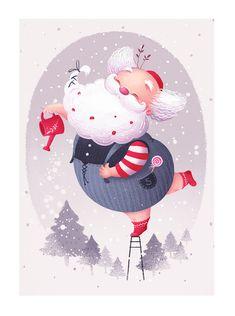 Let it snow! on Behance Christmas Mood, Noel Christmas, A Christmas Story, Christmas Signs, Christmas Greeting Cards, Christmas Greetings, Christmas Crafts, Illustration Noel, Winter Illustration