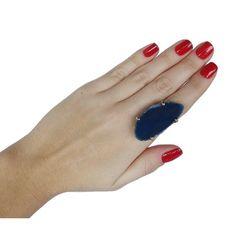 Anel de pedra ágata azul