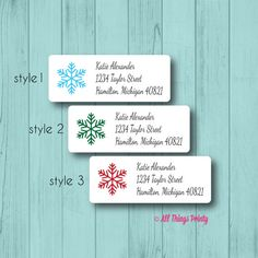 30 Custom Blue Victorian Snowflake Personalized Address Labels