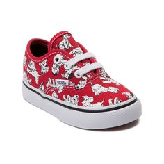 The new Authentic 101 Dalmatians Skate Shoe from Disney and Vans are dog-gone adorable! Lace up a playful pair they'll love to wear with these Vans Authentic 101 Dalmatians sneakers, sporting a low-top design constructed with a canvas upper, and allover dalmatian puppy prints.