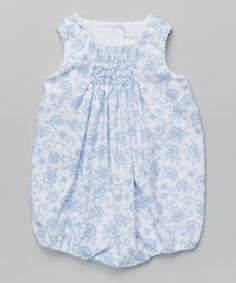 Light Blue Floral Smocked Bubble Bodysuit - Infant | zulily