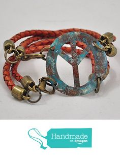 Hand-painted Peace Sign Bracelet with Braided Leather from Jooniebeads Treasures https://www.amazon.com/dp/B01M3U2TT1/ref=hnd_sw_r_pi_dp_skheyb7XYZGKG #handmadeatamazon