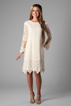 0513662be69d Darling boho modest dress , style Lacey Cream, is part of the Wedding  Collection of