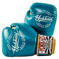 Part of the YOKKAO 2017 collection Handcrafted by professionals in Thailand Superior foam padding Snug and comfortable fit Premium cowhide leather with reinforced stitching Variety of sizes available Hook and loop closure Martial Arts Equipment, Mma Equipment, Vintage Gloves, Vintage Box, Muay Thai Gloves, Muay Thai Training, Blue Gloves, Boxing Gloves, Kickboxing