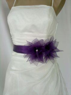 Handcraft Purple Lotus Bridal Wedding Dress Sash by elitewomen, $39.50