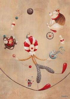 Oopsy daisy, Fine Art for Kids Vintage Circus Clown Stretched Canvas Art by Sarah Lowe, 10 by Circus Art, Circus Clown, Circus Theme, Circus Birthday, Birthday Parties, Art Wall Kids, Canvas Wall Art, Art For Kids, Elephant Canvas Art