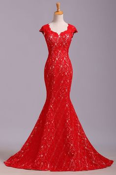 3a8619f50d136 Elegant Red Sweetheart Mermaid Lace Cap Sleeve Open Back Prom Dress