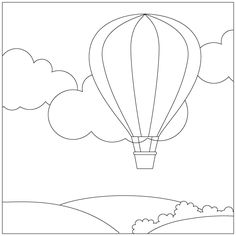 Free Digital Stamps – Page 16 Art Drawings For Kids, Drawing For Kids, Easy Drawings, Art For Kids, Free Motion Embroidery, Hand Embroidery Patterns, Balloon Template, Landscape Art Quilts, Balloon Crafts