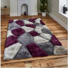 Noble House Rugs 5858 Grey and Purple Rugs. Off Noble House Rugs, patterned shaggy rugs, grey and purple shaggy rugs in modern pebble design. Purple Bedroom Design, Purple Bedrooms, Girls Bedroom, Bedroom Designs, Master Bedroom, Home Interior, Interior Decorating, Living Room Decor, Bedroom Decor