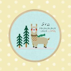Falala Llama. Cute Christmas Llama Cross Stitch PDF Pattern