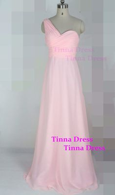 One shoulder pink Bridesmaid dress long bridesmaid por TinnaDress