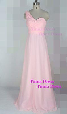 One shoulder pink Bridesmaid dress long bridesmaid por TinnaDress