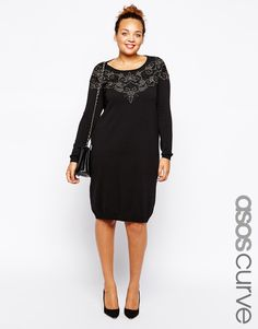 ASOS CURVE   Knitted Dress with Victoriana Lace