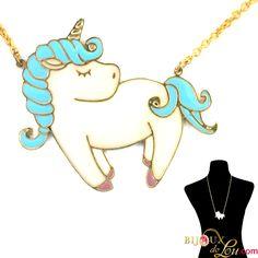 Bijoux de Lou - Large Pastel Unicorn with Blue Mane Necklace Brass Pendant, Pegasus, Mythical Creatures, Unicorns, My Little Pony, Pastel, Hand Painted, Gold, Blue