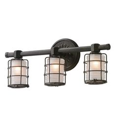 $378 Uses G9 bulbs (but fixture is smaller than most) Troy Lighting Mercantile 3 Light Bath Vanity in Vintage Bronze B3843