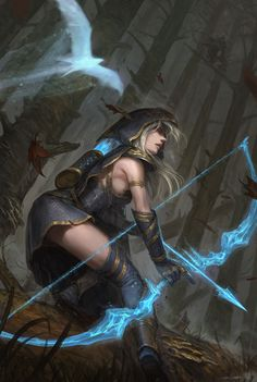 """""""Ashe Hakwshot"""" isn't endorsed by Riot Games and doesn't reflect the views or opinions of Riot Games or anyone officially involved in producing or managing League of Legends. League of Legends and Riot Games are trademarks or registered Fantasy Warrior, Fantasy Rpg, Medieval Fantasy, Fantasy Girl, Fantasy Artwork, Dark Fantasy, Warrior Girl, Fantasy Women, Fantasy Drawings"""