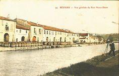 Le Canal du Midi en Languedoc : Cartes postales anciennes : Béziers