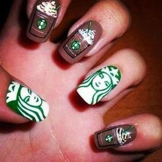 Starbucks Nails ....on an unrelated fact, I'm wearing a white skirt and shirt with the starbucks logo and green knee high socks with these nails!