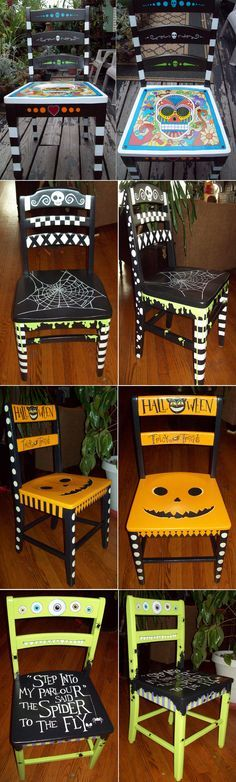 My Halloween chairs for my guests seating...I want to paint like you. Halloween Inspiration.