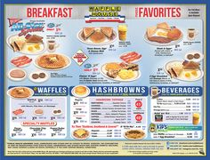 Waffle House Menu - Breakfast 2 Waffles, bacon, and hashbrowns scattered, smothered, covered, chunked... omg