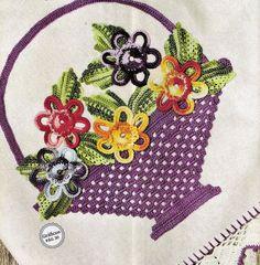 cesta com flores de croche no blog a receita de croche