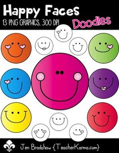 Happy Faces Clipart!  You will LOVE these 13 smiley faces that are so much FUN! They are absolutely perfect for adding to parent newsletters, literacy and writing stations, activities, printables and student worksheets, class invitations, etc.  These graphics may be added to your classroom materials and resource products that you sell.These graphics are intended for you to create your own teaching resources in a document form.