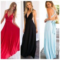 Womens-Deep-V-Neck-Strap-Cross-Bandage-Backless-Long-Maxi-Boho-Skirts-Dress-S-L